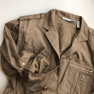 Ms Chaus vintage khaki color utility jumpsuit